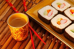Sushi and saki pairing.