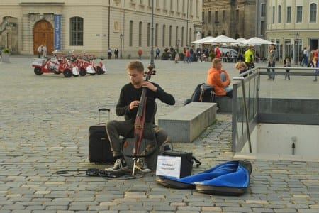 """Electric cellist Bartosz Zboralski, aka """"loop trigger"""" on Facebook, attended conservatory in Poland. He plays here near the rebuilt Frauenkirche in Dresden."""